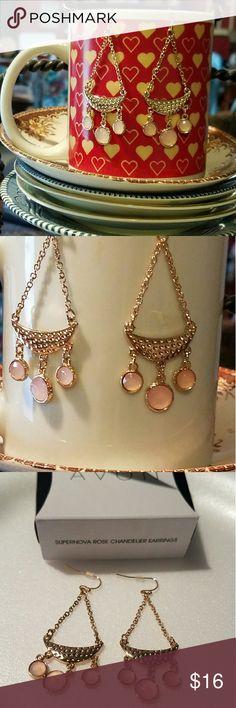 Rose Chandelier Earrings New lightweight chandelier earrings in gold colored metal with rose glass drops Avon Jewelry Earrings