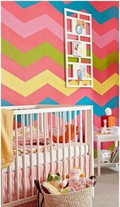 bright+bold chevron in a kid's room.im a sucker for a chevron print! Nursery Design, Nursery Decor, Wall Design, Bedding Decor, Playroom Design, Playroom Ideas, Nursery Ideas, Wall Decor, Wall Art