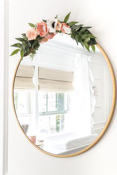 White Floral Nursery Makeover Reveal – Bless'er House An all white nursery makeover room reveal with classic, vintage style furniture, Anthropologie-inspired patterns and textures, and floral accents. Nursery Room, Baby Room, Nursery Mirror, Girl Nursery Decor, Baby Nursery Diy, Nursery Artwork, Diy Baby, Floral Nursery, Floral Bedroom Decor