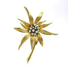 49b9850a371 Vintage Flower Brooch Faux Pearl Center Large Statement Pin Gold Plated by  QVintageJewelry Flower Brooch,
