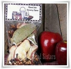 Spiced Cider Simmering Spices   Tattered Sisters Primitives ~T~ Love this one as a fall gift. Dried apple spices, bay leaves, whole cloves, star anise, cinnamon sticks, crushed corn cob to help absorb the fragrence oil, and spiced cider scented fragrance oil. A great hostess gift.