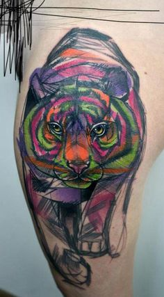Geometric Tiger Tattoo Peter aurisch colour tiger