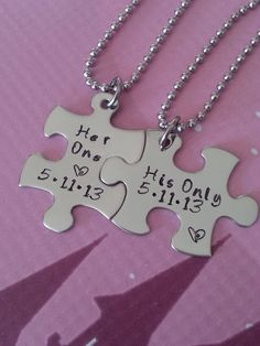 His and Her Puzzle Piece Necklace Set  With Date - Couples,Wedding, Anniversary necklace on Etsy, $29.99