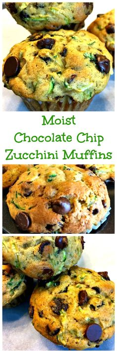 Get some veggies in with our Moist Chocolate Chip Zucchini Muffins! They're healthier than most muffins but, still nice and chocolaty with chewy golden tops! Zucchini Muffins, Muffins Blueberry, Zucchini Chocolate Chip Muffins, Chocolate Chip Banana Bread, Healthy Muffins, Healthy Snacks, Healthy Recipes, Vegetarian Muffins, Zucchini Desserts