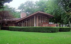 Ina Morris Harper House (1959)    207 Sunnybank (right off the Red Arrow Highway)  St. Joseph, MI  Architect: Frank Lloyd Wright    Views of Lake Michigan from those windows.