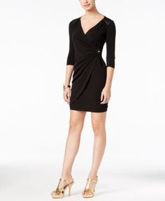 Thalia Sodi Faux-Leather-Trim Bodycon Dress