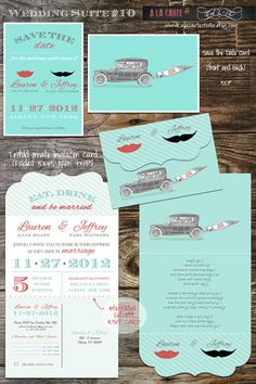 Vintage Red & Blue Wedding Invites