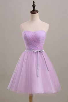 Cute A-line Sweetheart Knee Length Tulle Homecoming Dress With Sash