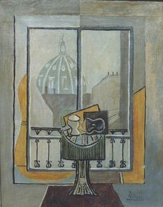"Pablo Picasso - ""Still life in a window"". Pablo Picasso, Picasso Art, Picasso Paintings, Original Paintings, Picasso Drawing, Oil Paintings, Picasso Still Life, Cubist Movement, Georges Braque"