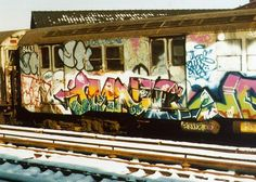NYC graffiti subway train in the 80's>>>>if you got caught..oh boy! ..a fine & maybe jailtime...no kidding!