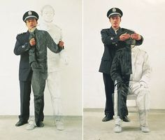 """Liu Bolin in Interview:  """"The situation for artists in China is very difficult and the forced removal of the artist's studio is in fact my direct inspiration of this series of photographs, Hiding In The City…I am standing, but there is a silent protest, the protest against the environment for the survival, the protest against the state."""""""