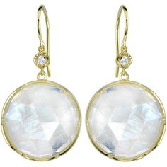 IRENE NEUWIRTH   Round Rose Cut Rainbow Moonstone Earrings - Yellow... ($3,370) ❤ liked on Polyvore featuring jewelry, earrings, white, 18 karat gold jewelry, rainbow moonstone earrings, 18k yellow gold earrings, white earrings and white drop earrings