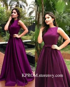 A Linha Long Purple Prom Formal Evening Party Dresses - Woman - Gowns Long Gown Dress, Lehnga Dress, Frock Dress, Long Frock, Indian Wedding Gowns, Indian Gowns Dresses, Gown Party Wear, Party Gowns, Frock Fashion