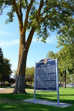 Pioneer Park historical marker in Grand Island, Nebraska, via Flickr. #GINE Hall County, Grand Island Nebraska, Missouri River, Great Plains, South Dakota, Wyoming, Iowa, Marker, Kansas