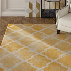 House of Hampton Geometric Handmade Tufted Wool Yellow/Ivory Area Rug Rug Size: Square Aqua Area Rug, Yellow Area Rugs, Navy Blue Area Rug, White Area Rug, Beige Area Rugs, Teal Throw Pillows, Gold Furniture, Square Rugs, Yellow Rug