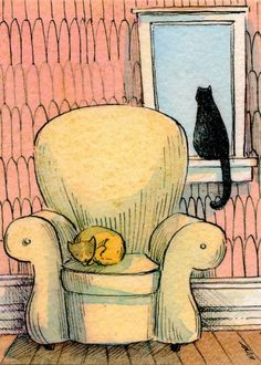 (Nicole Wong) Elementary Drawing / Painting Idea - 2 cats   perspective
