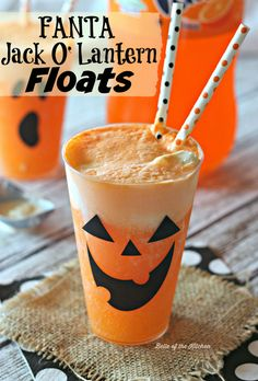 These Fanta Jack-O'-Lantern Floats are a spooky fun treat! Made with Fanta Orange soda and vanilla ice cream, they're sure to impress your Halloween guests!