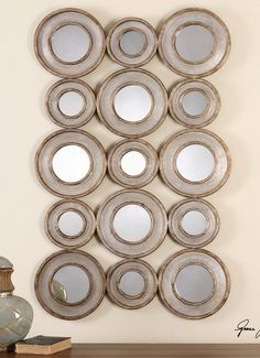 "Uttermost Vobbia Metal Circles Mirror 13920, 30"" x 49"""