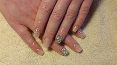 CNS Doll Face, Amore Gold Dust with Amore Ultima Gel and Swarovski Crystals #nail #nails #nailart