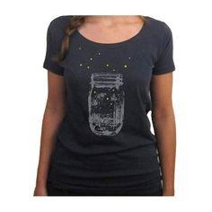 Fireflies shirt. scoop tshirt. black. organic cotton.  kinshippress  Kin Ship