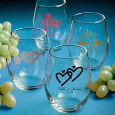 Personalized Stemless Wine Glass Wedding Favors- 9 Ounce