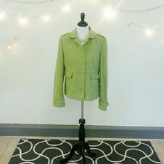 """🎉HP🎉Banana Republic Wool Green Jacket EUC Banana Republic Wool Green Jacket. Perfect for work or play, completely lined. Length from shoulder to hem is 24"""" arm measures 26"""" from shoulder to wrist. In excellent condition, needs to be dry cleaned. I didn't want to add the cost of dry cleaning to the price of the jacket. Super cute and flattering, please ask questions all sales are final. Accept when received, thanks for looking.  🎉HP🎉 10/05/1015 by @javelin Sweaters, Jackets & More Party…"""