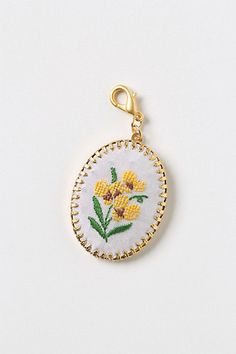 Embroidered Buttercup Collector's Charm #anthropologie