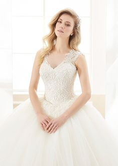 Bridesfamily Delicate Tulle Jewel Neckline Ball Gown Wedding Dress With Beaded Lace Appliques Outdoor Wedding Dress, Gown Wedding, Wedding Dresses, Illusion Neckline Wedding Dress, Beautiful Wedding Gowns, Beaded Lace, Fitted Bodice, Lace Applique, Ball Gowns