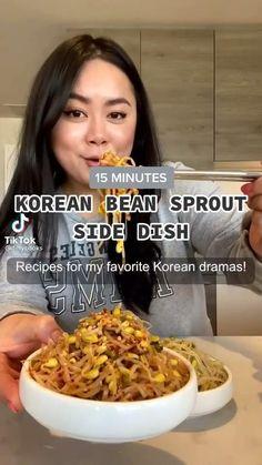 Pork Rib Recipes, Veggie Recipes, Vegetarian Recipes, K Food, Food Porn, Kitchen Recipes, Cooking Recipes, 15 Minute Meals, Bean Sprouts