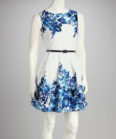 Take a look at this White & Royal Floral Belted Dress by Bailey Blue on #zulily today!