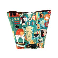 Retro Kitchen Tote Bag Teal Cloth Purse by ColleensDesignsBags
