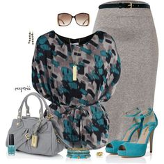 outfit with gray skirt | Cover Isabel Blouse ?Belt loops at waist and detachable ties ... #WomensFashion
