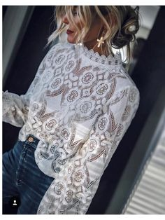 Elegant long sleeve blouse with round neckline - Outfit - Women's Fashion Mode Outfits, Fashion Outfits, Womens Fashion, Fashion Trends, Mode Chic, Mode Style, Elegantes Outfit, Moda Casual, Tee Dress
