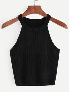 Kleidung 2 Casual Tank Plain Slim Fit Halter Top Black Crop Length Knitted Rib Tank Top Why have a W Crop Top Outfits, Edgy Outfits, Cute Casual Outfits, Girls Fashion Clothes, Teen Fashion Outfits, Punk Fashion, Lolita Fashion, Fashion Boots, Fashion Dresses