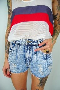 Patriotic outfit! Faded jean shorts and a mesh tank