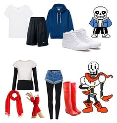 """Undertale cosplay"" by abtastic2011 on Polyvore featuring Lands' End, Splendid, NIKE, Vans and Jigsaw"