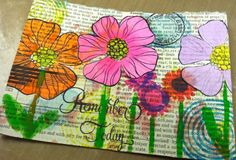 Mail art featuring HA Stamp Your Story stamps and Neon Ink Daubers.