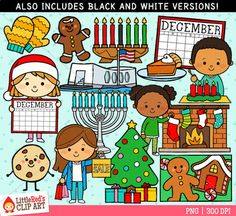 A collection of December-themed clipart! Also available in our Months of the Year Clip Art Bundle.- 28 Graphics (14 in color, 14 in black and white)- 300 DPI files (nice crisp printing!)- PNGs (PNG files have transparent backgrounds)Includes images for: Christmas, Advent, Christmas Eve, Hanukkah, Kwanzaa, National Cookie Day, Pearl Harbor Day, Pumpkin Pie Day, Boxing Day, winter, gingerbread, calendars.************************************************************************Leave a…