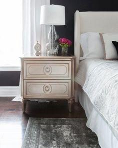 Glam-bedroom-black-walls-mirrored-nightstand