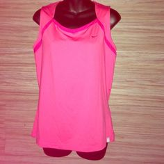 Women's Nike hot pink tank Perfect condition! NWOT. Hot pink top with dark pink outline at the top. Dri fit. 87% polyester 13% spandex. Nike Tops Tank Tops