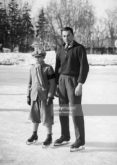 Prince Michael Of Romania, son of King Carol II on the Asmigin ice rink with his ice skating instructor