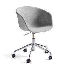 Hay - About A Chair AAC 53 mit Gasdruck-Höhenverstellung, Remix hellgrau (123) / poliert Hellgrau T:60 H:74 B:62