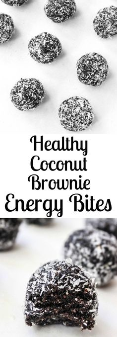 Dark Chocolate Coconut Fudge Brownie Energy Bites- a delicious healthy snack or dessert!
