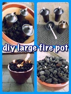 """34"""" ceramic flower pot, filled with lava rocks. Used tiki torch inserts & covered with more lava rocks. Total cost under $55!"""