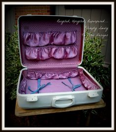 Shabby Chic Vintage Leather Painted Suitcase by TreChicDesigns
