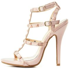 Charlotte Russe Nude Studded T-Strap Dress Sandals by Charlotte Russe... ($27) ❤ liked on Polyvore featuring shoes, sandals, heels, nude, mini melissa shoes, nude heel sandals, platform sandals, nude shoes and vegan sandals