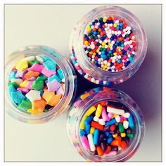 Sprinkles!!  @Anna Palmer, these would be a fun centerpiece idea for the girls' rainbow party!!!!