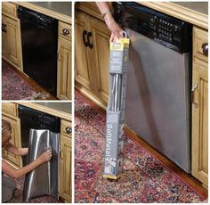 cover dishwasher with stainless steel adhesive