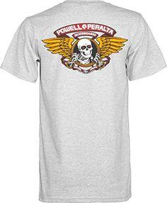 7720e154 Powell-Peralta Winged Ripper T-Shirt, Gray, Large Print Logo, Longboard