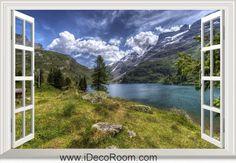 3D Engstlensee Switzerland Landscape window wall sticker art decal IDCCH-LS-003054